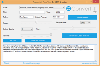 Text To MP3 Converter Window
